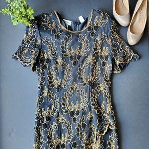 Vintage Stenay beaded 80s formal dress 100% silk